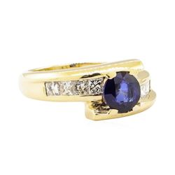 1.67 ctw Blue Sapphire And Diamond Ring - 14KT Yellow Gold