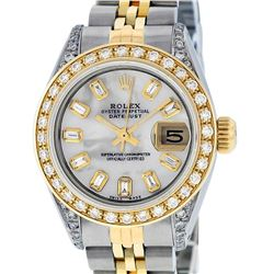 Rolex Ladies 2 Tone 14K MOP Baguette Diamond Lugs Datejust Wristwatch