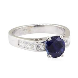 2.42 ctw Sapphire and Diamond Ring - 14KT White Gold