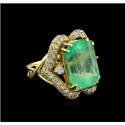 GIA Cert 17.51 ctw Emerald and Diamond Ring - 14KT Yellow Gold