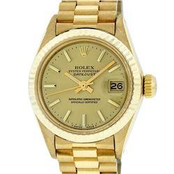 Rolex Ladies 18K Yellow Gold Champagne Index Datejust President Wristwatch