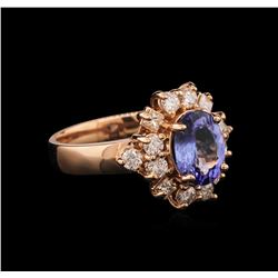 1.75 ctw Tanzanite and Diamond Ring - 14KT Rose Gold