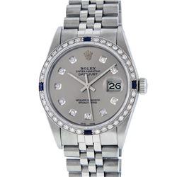 Rolex Mens Stainless Steel Gray Diamond & Sapphire 36MM Datejust Wristwatch