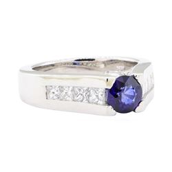 1.99 ctw Sapphire And Diamond Ring - 14KT White Gold