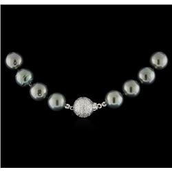 Cultured Pearl and Diamond Necklace - 14KT White Gold