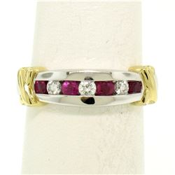 14K White & Yellow Gold 0.47 ctw Top Quality Diamond & Ruby Channel Set Band Rin