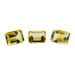 21.24 ctw.Natural Emerald Cut Citrine Quartz Parcel of Three