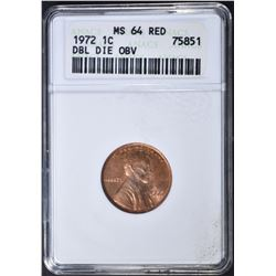 1972 LINCOLN CENT  ANACS MS-64 RD