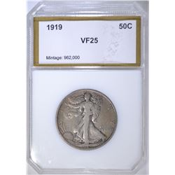 1919 WALKING LIBERTY HALF DOLLAR  PCI VF