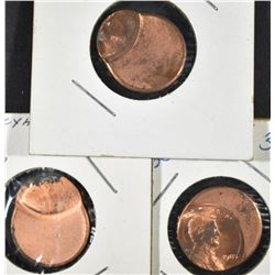 1985, 87 & 89 OFF CENTER LINCOLN CENTS