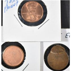 3-MINT ERROR LINCOLN CENTS: