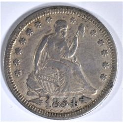 1854 WITH ARROWS SEATED LIBERTY QUARTER, XF