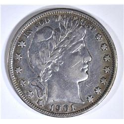 1901 BARBER HALF DOLLAR XF