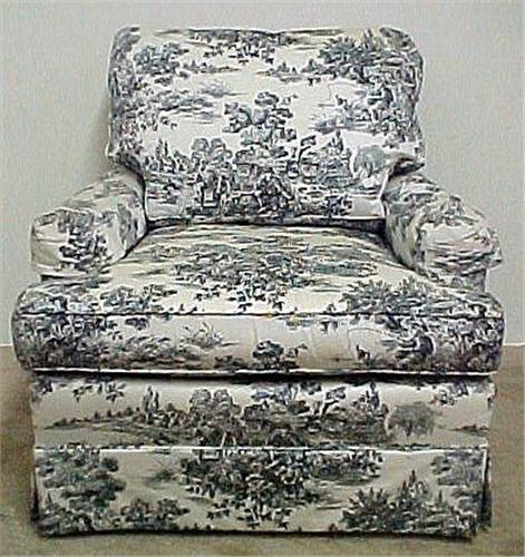 Pleasing Toile Upholstered Armchair With Footstool Caraccident5 Cool Chair Designs And Ideas Caraccident5Info