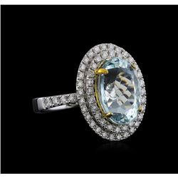 14KT Two-Tone Gold 5.13 ctw Aquamarine and Diamond Ring