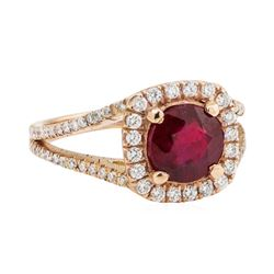 2.43 ctw Ruby and Diamond Ring - 14KT Rose Gold
