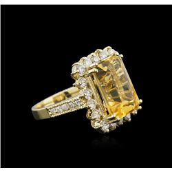 14KT Yellow Gold 7.10 ctw Citrine and Diamond Ring