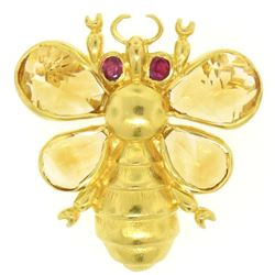 14k Yellow Gold Pear Cut Citrine & Ruby Eye Bee Fly Brooch Pendant
