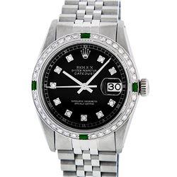Rolex Mens Stainless Steel Black Diamond & Emerald Datejust Wristwatch