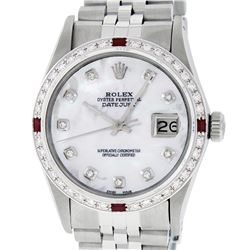 Rolex Mens Stainless Steel MOP Diamond & Ruby 36MM Datejust Wristwatch