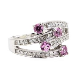 0.90 ctw Pink Sapphire and Diamond Ring - 18KT White Gold