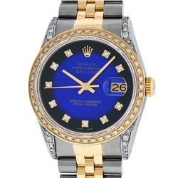 Rolex Mens 2 Tone 14K Blue Vignete Diamond Lugs Datejust Wristwatch