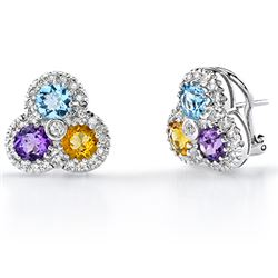 14k White Gold 3.62CTW Multi Color and Diamond Earrings, (SI3/G-H)