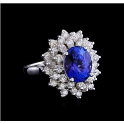 4.01 ctw Tanzanite and Diamond Ring - 14KT White Gold