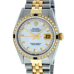 Rolex Mens 2 Tone MOP String Diamond & Sapphire 36MM Datejust Wristwatch