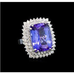 GIA Cert 19.22 ctw Tanzanite and Diamond Ring - 14KT White Gold