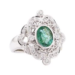 1.54 ctw Emerald and Diamond Ring - 14KT White Gold