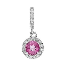 14k White Gold 0.90CTW Pink Topaz and Diamond Pendant, (I1-I2/G-H)