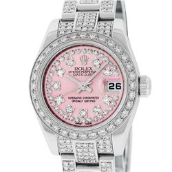 Rolex Ladies Stainless Steel Pink 5 ctw Diamond Datejust Wristwatch With Rolex B