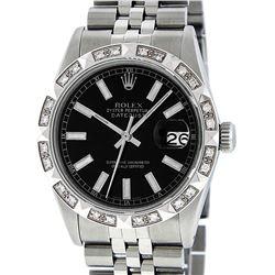 Rolex Mens Stainless Steel 36MM Black Index Pyramid Diamond Datejust Wristwatch