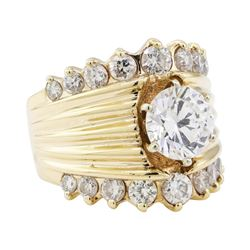 5.40 ctw Cubic Zirconia and Diamond Ring - 14KT Yellow Gold