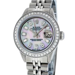 Rolex Ladies Stainless Steel Pink MOP Baguette Diamond Datejust Wristwatch