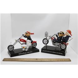 2 motorcycle ornaments