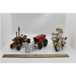 Wooden tractor, coca cola cast horse and wagon and sea shell motorcycle