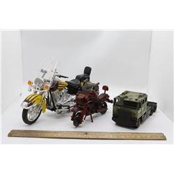 2 motorcycles and army truck