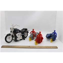3 plastic cruisers and Sting motorcycle