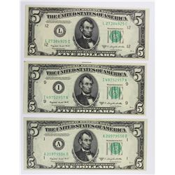 (3) 1950-C $5.00 FEDERAL RESERVE NOTES
