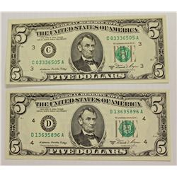 TWO 1981-A $5.00 FEDERAL RESERVE NOTES