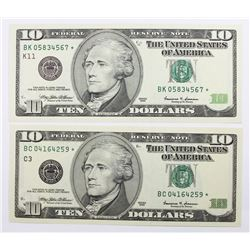 1999 $10.00 DALLAS & PHILADELPHIA STAR NOTES