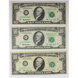 THREE $10.00 FEDERAL RESERVE NOTES: STAR NOTES: