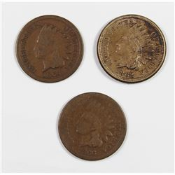 (3) INDIAN HEAD CENTS