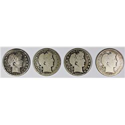 FOUR BARBER HALF DOLLARS