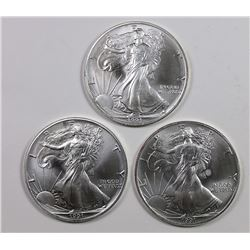 THREE 1991 AMERICAN SILVER EAGLES
