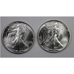 TWO 1986 AMERICAN SILVER EAGLES
