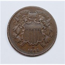 1864 TWO CENT SMALL MOTTO