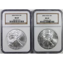 2002 & 2004 AMERICAN SILVER EAGLES